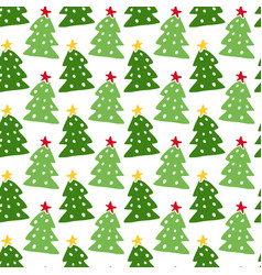 christmas trees seamless pattern new year vector image