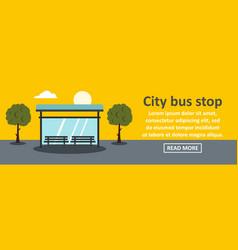 city bus stop banner horizontal concept vector image
