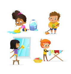 collection of children doing household routines vector image