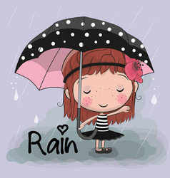 Cute cartoon girl girl with an umbrella vector