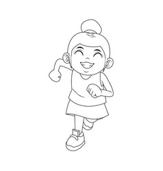 Cute girl with her hair tied up in a bun cartoon vector