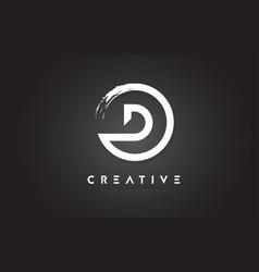 D circular letter logo with circle brush design vector