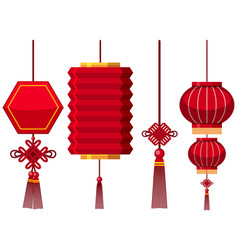 Different designs of chinese lanterns vector