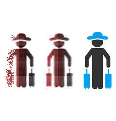 Dispersed pixel halftone gentleman passenger icon vector