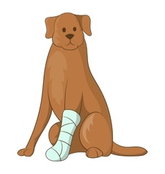 Dog with an injured leg icon cartoon style vector