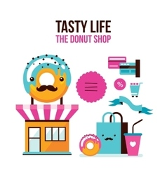 Donut Coffee online shopping infographic Flat 3d vector image