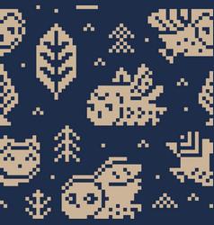 fair isle christmas print with owls vector image