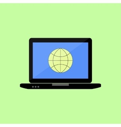 Flat style laptop with internet icon vector image