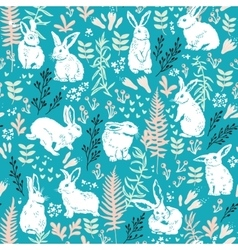 Floral pattern with white hares vector image
