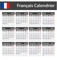 french calendar for 2018 scheduler agenda or vector image