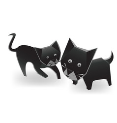 friendly cat and dog vector image