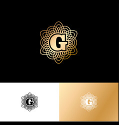 g gold letter monogram gold circle lace ornament vector image