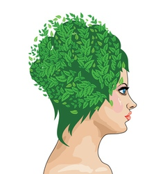 Girl with green hair vector image
