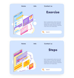 healthy lifestyle and sport activity steps vector image