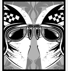 helmet with eyeglasses cafe racer vector image