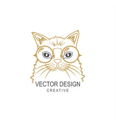 hipster cat in glasses vector image