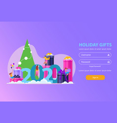 holiday gifts login page vector image