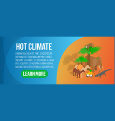 Hot climate concept banner isometric style vector