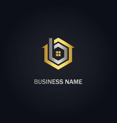 House realty business company gold logo vector