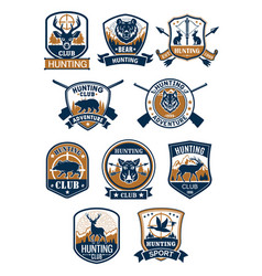 Hunting sport symbol and hunter club badge set vector