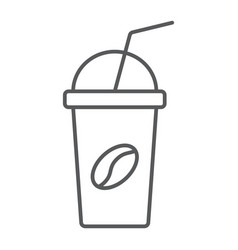 ice coffee thin line icon coffee and cafe cup vector image