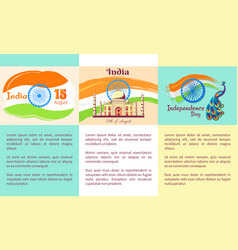 independence day of india set of posters vector image