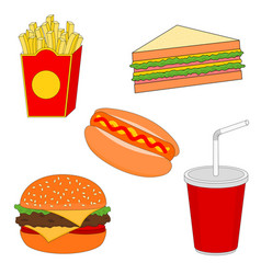 isolated fast food menu icon set vector image