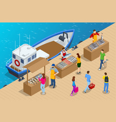 Isometric fresh fish and seafood sale market vector