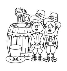 Leprechaun couple with barrel vector