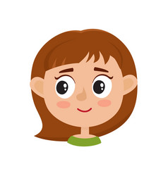 little girl happy face expression isolated on vector image