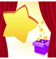 Magic box with stars behind red curtain vector image
