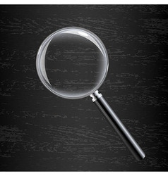 Magnifying Glass On Black Wooden Background vector image