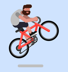man jumps on a bicycle vector image