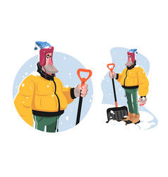 Man with shovel tool vector