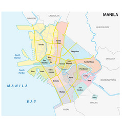 Manila administrative political and road map vector