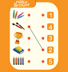 matching number worksheet template vector image