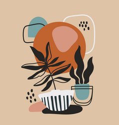 Modern poster design with potted plants vector