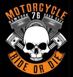 Motorcycle skull tee graphic design vector