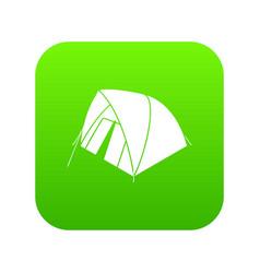 Mountain tent icon green vector