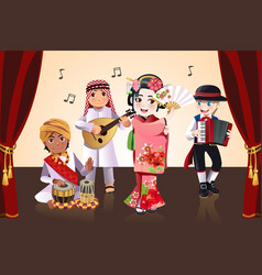 multi-ethnic kids performing vector image
