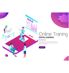 online training and digital learning via mobile vector image
