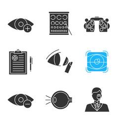 ophtalmology glyph icons set vector image