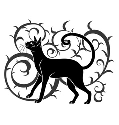 ornamental black cat vector image