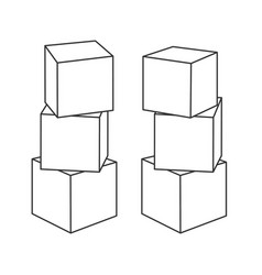 Outline block building towers for coloring book vector
