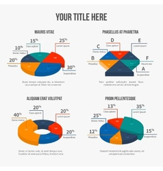 pie charts in modern 3d flat style vector image
