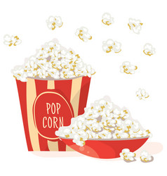 Pop corn in a red bowl with corn in a red vector