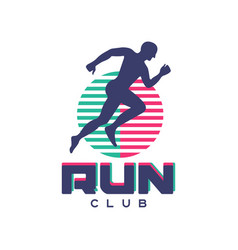 Run club logo emblem with abstract running man vector