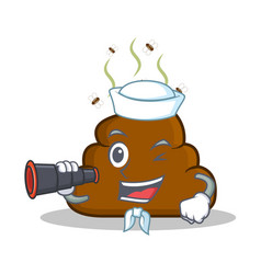 sailor with bonicular poop emoticon character vector image