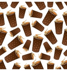 Seamless takeaway coffee paper cups pattern vector