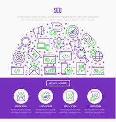 seo and development concept in half circle vector image
